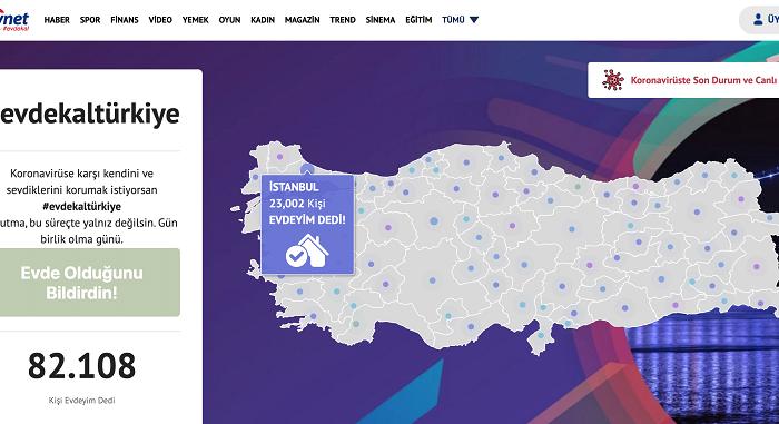 Mynet'ten #evdekaltürkiye çağrısı/kampanyası