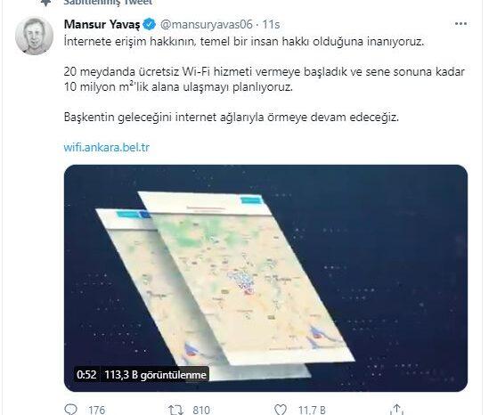 Ücretsiz Wi-Fi hizmeti, Ankara'da 20 meydanda aktifleştirildi
