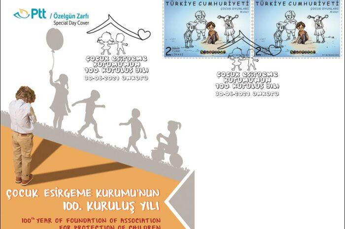 """PTT'den """"Çocuk Esirgeme Kurumu'nun 100. Kuruluş Yılı"""" Konulu Özelgün Zarfı"""